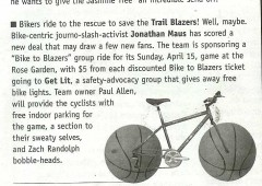 Bike to Blazers in the Willamette Week