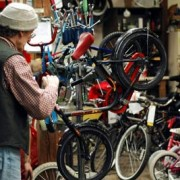 A visit to Santa's bike shop on Alberta Street