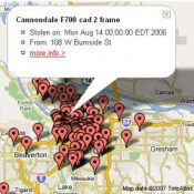 Google Map shows stolen bike hot spots