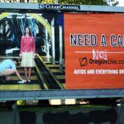 Anti-car graffiti on Oregonian billboard