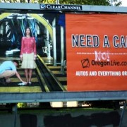 Anti-car graffiti on Oregonian billboard