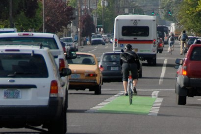 Bike boxes not the only green on Portland's bikeways