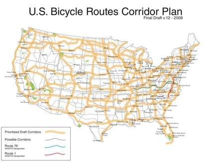 Bikes Routes In Western U.s. Corridor Plan as of July