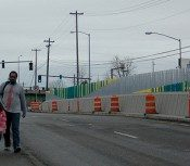 """A view from other side of the """"rogue wall"""" on 82nd"""