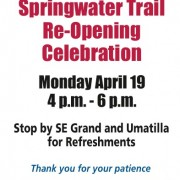 Section of Springwater Trail re-opens: Celebration planned tonight