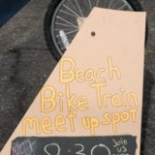 Catching the Beach Elementary School 'bike train'