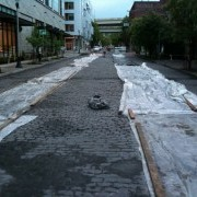 First look at new bike lanes through cobblestones on NW Marshall