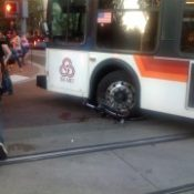Update: Bike operator cited for running into bus in transit mall collision