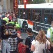 Man on a bike struck by TriMet bus operator on transit mall – Updated (Photos)