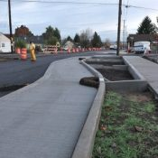First look at cycle track in-progress on NE Cully Blvd