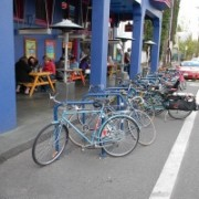 Portland's first bioswale bike corral and more bike parking on Williams