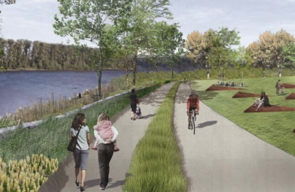 See what the south waterfront greenway trail will look for Portland maine bike trails