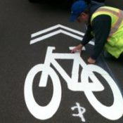 Sharrows and a biking mayor in coastal town of Newport