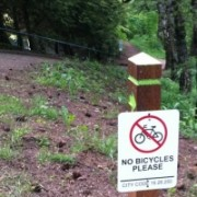 "New signs clarify ""No Bicycles Please"" on Mt. Tabor trail"