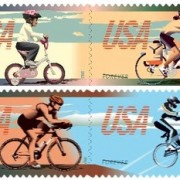 "US Postal Service unveils ""Bicycling Forever"" stamps"