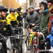 Police on bikes meet protestors on bikes: Smiles, dialogue ensues
