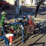 Locked Up: Santa's sleigh bike on N Mississippi