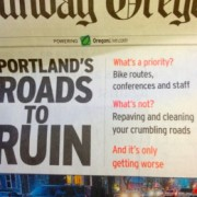 The Oregonian: Bikes to blame for potholes, PBOT budget mess