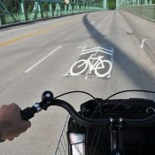 Photos, first impressions of new sharrows on St Johns Bridge