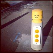 Holman St park bollards get the happy Lego treatment