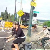 Bicycle traffic detours in place on Broadway Bridge for two weeks