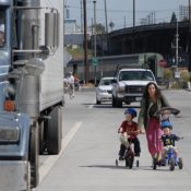 Four years later, large trucks still use SE Caruthers bike lanes as loading zones