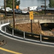 New path for bikes on west end of Sellwood Bridge