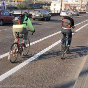 County adds buffer to bike lane on Hawthorne Bridge approach