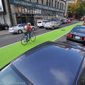First Look: PBOT's new green paint on SW Oak