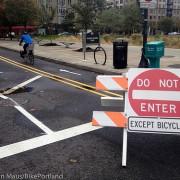 Diverter and new bike lane creates calm on NW Marshall