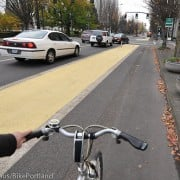 First look: New protected bike lanes on NE Multnomah Street