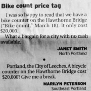 The Oregonian's unfortunate letters about Hawthorne bike counter – UPDATED