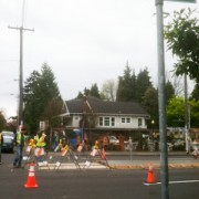 Finally! A crosswalk and median installed at E Burnside and 16th