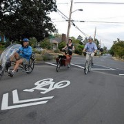 When should streets use sharrows, painted lanes and separation? (graphics)
