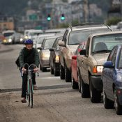 Biking and breathing on major streets
