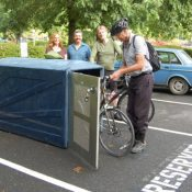 Washington County commissioner swaps car parking spot for a bike locker