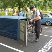Washington County commissioner swaps car parking spot for a bike locker