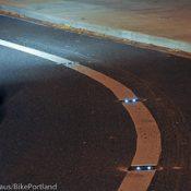 First Look: Portland's new solar-powered LED bike lane lights