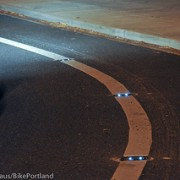 First Look: Portland's new solar-powered LED bike lane lights
