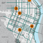 An annotated map to the future of bicycling in downtown Portland