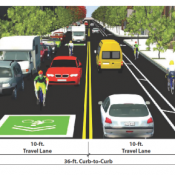 City's top idea for 28th Ave: Shared lane in one direction, buffer in the other