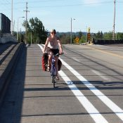Buffered bike lanes over Lombard at 33rd improve link to river, airport and jobs