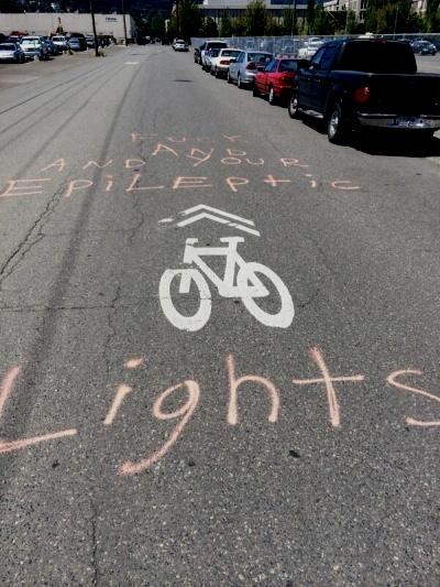 Grafitti In Northwest Portland Rages Against Blinking Bike Lights