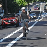 First look at new, left-side buffered bike lanes on NW Everett