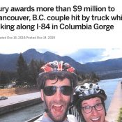 The Oregonian: $9 million award for couple hit while biking in the Gorge
