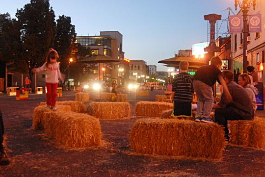 kids hay bales night