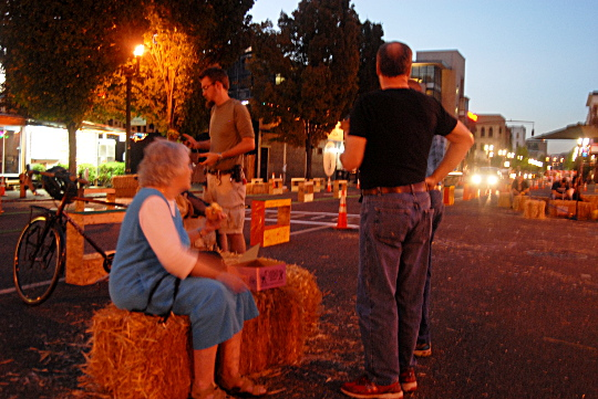 tourists hay bales night