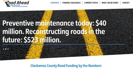 clackamas county road maintenance shortfall