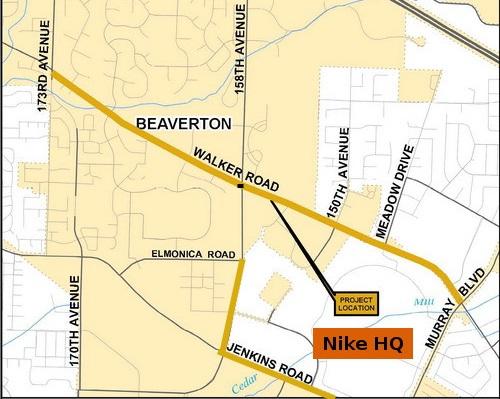three bike lanes around nike labeled