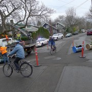 Guerrilla traffic diverters installed – then removed – on SE Clinton